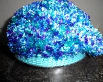Crochet chunky blue funny  girls  winter hat beanie beret
