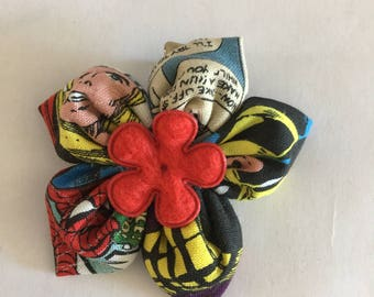 "Small 2.5"" Fabric Hair Flower Clip Marvel Comics Spiderman Wolverine Thor"
