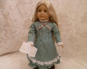 18 Inch Doll 1880's Laura Ingalls Replica Dress in Forest Green Gingham for American Girl Dolls