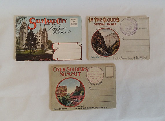 3 Vintage Postcard Folders- Denver, Colorado.. Rio Grand Railroad.. & Salt Lake City