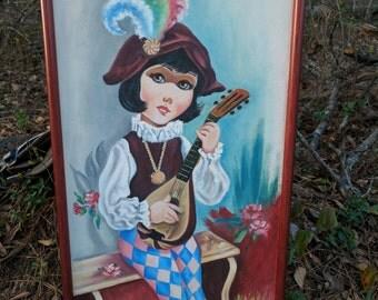 Original AM Sanchez Big Eyed Jester Oil on Canvas with Instrument