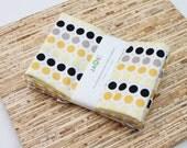 Large Cloth Napkins - Set of 4 - (N1776) - Andrea Yellow Gray Black Dots Modern Reusable Fabric Napkins