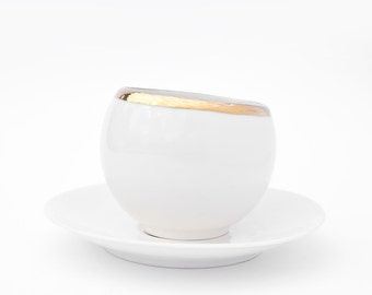 Tea Cup and Saucer, Hot Chocolate Cup, Espresso Cup, Coffee Cup, Porcelain Cup Gold rimmed with Saucer