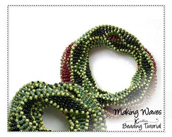 Double/Triple/Multi Wrap/Cubic Right Angle Weave/DNA Bangle/Beading Pattern/Instructions/Seed Bead/Jewelry Tutorial/PDF Download MAKINGWAVES