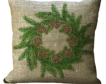 Evergreen Pine with Pinecones Winter Wreath in Choice of 14x14 16x16 18x18 20x20 22x22 24x24 26x26 inch Pillow Cover