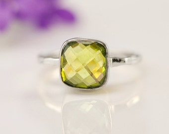 SALE - Green Peridot Ring Silver - August Birthstone Ring - Gemstone Ring - Sterling Silver Ring - Cushion Cut  - Stacking Ring