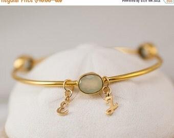 40 OFF - Personalized Charm Bangle - Aqua Green Chalcedony Bracelet  - Friendship Bracelet - Initial Charm Bracelets- Mother's Day Gift