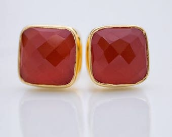 40 OFF - Carnelian Stud Earrings - Gemstone Studs - Cushion Cut Studs - Gold Stud Earrings - Post Earrings
