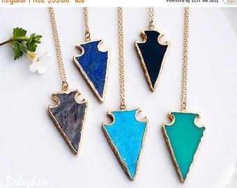 40 OFF - Gemstone Arrow Head Necklace - Boho Jewelry - Layering Necklace - Gemstone Necklace - Bohemian Jewelry