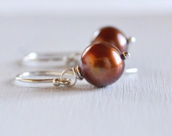Chocolate Brown Freshwater Pearl Earrings, Argentium Sterling Silver French Hoops, Gift Under 20
