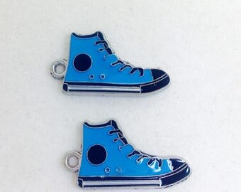 Blue and Black Metal Alloy High Top Tennis Shoe Charms