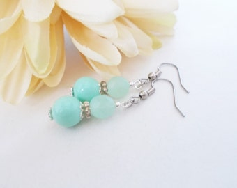 Mint Green Bridesmaids Earrings, Seafoam Green Earrings, Clip On Earrings, Bridal Party Earrings, Bridesmaid Gift, Glass Drop Earrings