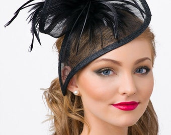 "Black Twist Mesh Fascinator - ""Victoria"" Black Mesh Fascinator Hat Headband with Black Flighty Feathers"
