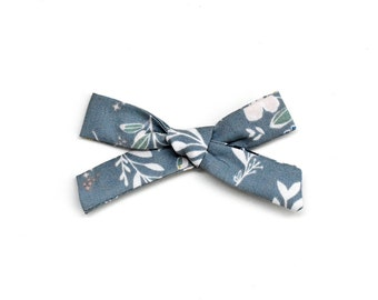 Floral School Girl Bow - Hand Tied Bow - Baby Girl Bow - Baby Hair Accessories