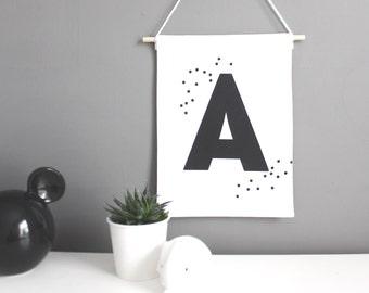 PERSONALISED wall hanging, black letter on white custom pennant, confetti dots, kids decor, nursery decor, wedding prop