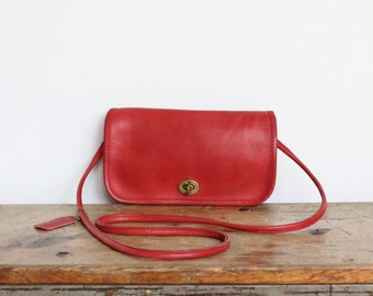Vintage Coach Bag // Penny Purse Dinky Bag Red NYC // Coach Handbag New York City