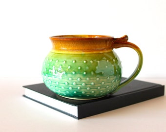 Round Dotty BIG mug, Handmade Pottery Coffee Mug, In Choce of Green or Lavender Glazes