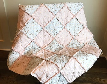 Baby Rag Quilt with Flamingo and Polka Dot Print-FREE SHIPPING