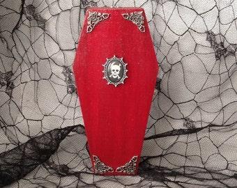 Red Spiderweb Skull Coffin Box