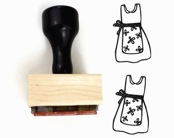 Momma's Apron Stamp - Flower Pinafore Rubber Stamp  - Hand Drawn Rubber Stamp by Creatiate