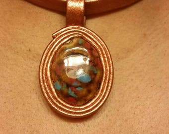 "Leather and semi-precious stone metallic painted choker, removeable pendant, necklace, ""Metallic Collection."""