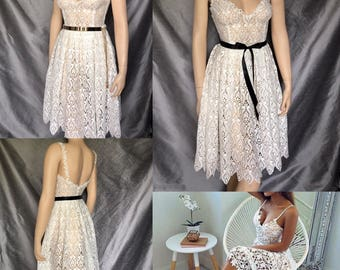 Bridesmaid dress lace short dress ivory cocktail dress sexy dress elegant dress Aline dress