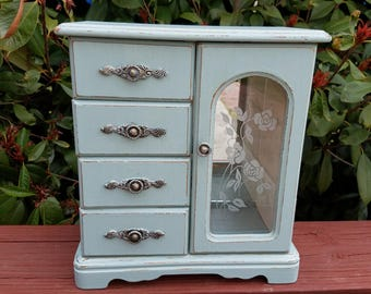 Vintage jewelry box shabby chic sage green