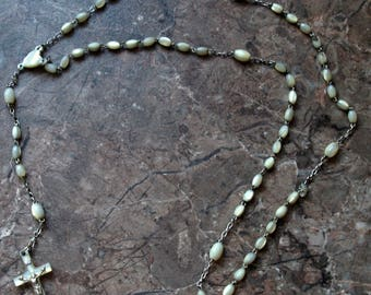 French vintage rosary mother of pearl crucix necklace.
