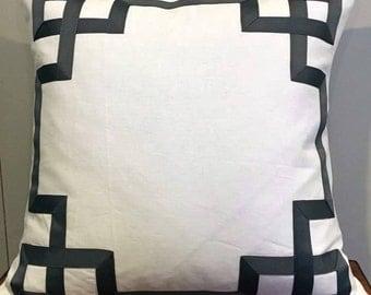 "Greek Key Fretwork White Linen with Gray Fretwork- Pillow Cover 20"""