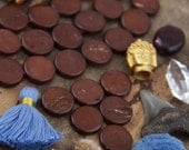 Dark Brown Plain Dime Discs : Handmade Coin Natural Bone Beads, 4x16mm, Tribal, Bohemian Yoga Mala Jewelry Making Supplies, Boho, 13 pcs