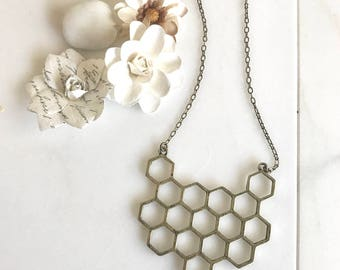 Honeycomb Statement Necklace in Antique Bronze. Bib Necklace. Collar Necklace. Statement Jewelry. Boho Necklace.