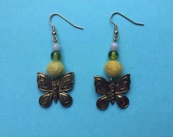 SALE, Felt bead earrings, butterfly earrings, felt earrings, felt ball earrings, butterfly jewellery, statement jewellery, beaded earrings