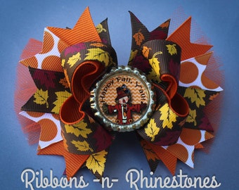 Fall Boutique Hair Bow, Fall Bow, Thanksgiving Bow, Autumn Bow, Holiday Bow, Over the Top Fall Bow, Happy Fall Bow, Scarecrow Bow, Hair Bow