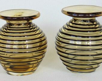 Pair Of Light Amber & Embossed Black Trimmed Hand Blown Glass Vases
