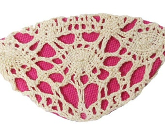Crochet Eye Patch Rose Lace Victorian Steampunk Pirate Fantasy Fashion Ivory Pink