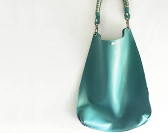 Turquoise Plain Leather Hobo Tote in Soft Slouchy Leather - Woven or Plain Strap - Made to Order