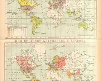1894 Original Antique Map of German Trade at the End of the 19th Century, Export and Import
