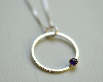 Silver Amethyst Circle Necklace Mothers February Birthstone Gift