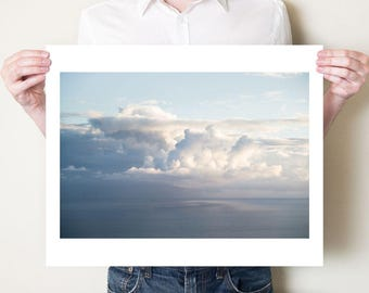 Cloud photography print, seascape, clouds, sky fine art photograph. Kefalonia Greece. Large oversized cloud print, soft blue ocean artwork