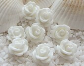 Resin Rose Flower Cabochon -  10mm - 50 pcs - White