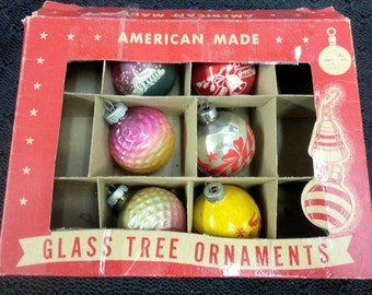 VINTAGE Six 1950s Glass Christmas Ornaments and Original American Made Box Lot Set Indent Ball Tree Decoration Holiday 40s Genuine Shiny