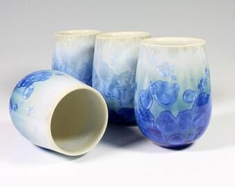 Set of 4 Turquoise Wine Tumblers