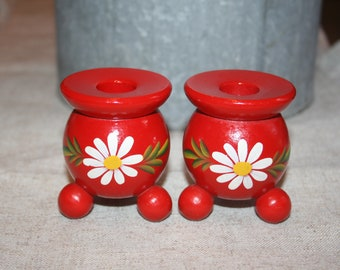 Vintage Hand Painted Wood Candle Holders Sweden Round Red Flowers Scandinavian Folk Art Style