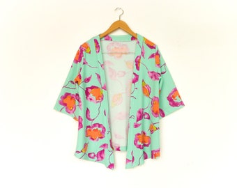 Vintage Floral Blouse Top Tunic Blazer Kimono Jacket / Bright Green Violet Orange Flowers / Summer / Boho Bohemian / medium