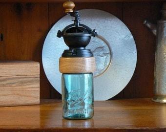 Mechanical Coffee Grinder - Coffee Mill - Fresh Ground Coffee – Canning Jar Base - Burr Grinder - Vintage Canning Jar -Foodie -CG-MJ23S