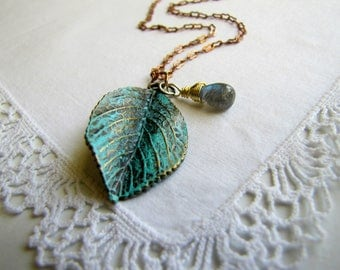 Labradorite Necklace Patina Necklace Leaf Necklace Long Boho Necklace Boho Jewelry Boho Fashion Gemstone Necklace Nature Rustic Jewelry