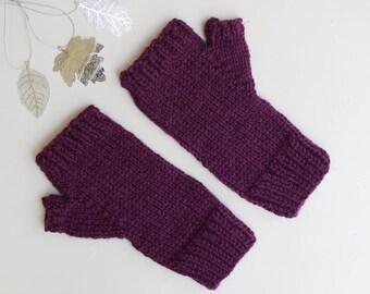PLUM FINGERLESS Gloves || Texting Mittens || HANDKNIT || Alpaca Wool Blend ||Ready to Ship