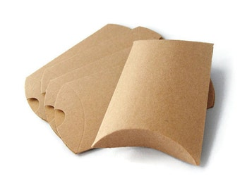 10 Medium Kraft Pillow Boxes,   Favors, Treat Box, , Packaging & Gift Wrap . 4.5 x 4.5 x 1.5