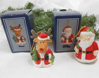 Vintage Christmas ornaments Porcelain bells Santa bell elk bell 1994 House of Lloyd new old stock set matching ornaments new old stock