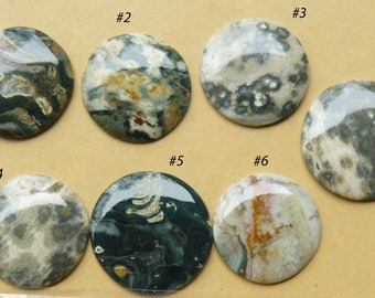Ocean Jasper Round Cabochons Avg size 30mm. Very Scenic looks even better in person